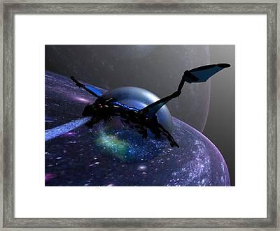 Space Dragon Flight Framed Print