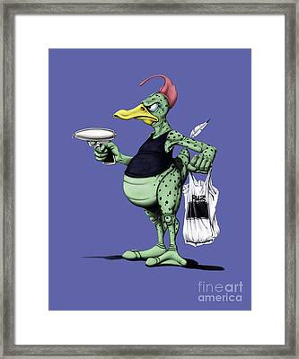 Framed Print featuring the mixed media Space Duck Colour by Rob Snow