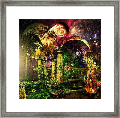 Framed Print featuring the mixed media Space Garden by Ally  White