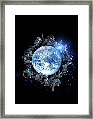 Space Junk, Conceptual Artwork Framed Print by Victor Habbick Visions