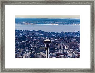 Space Needle 12th Man Seahawks Framed Print by Mike Reid