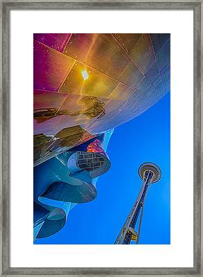 Space Needle And Emp In Perspective Hdr Framed Print by Scott Campbell