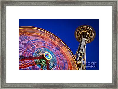Space Needle And Wheel Framed Print by Inge Johnsson