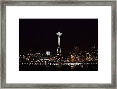 Space Needle At Night Framed Print by Marv Russell