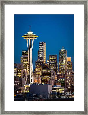 Space Needle Evening Framed Print by Inge Johnsson