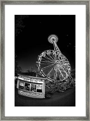 Space Needle Fights The End Of The World Framed Print by Scott Campbell