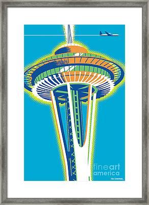 Space Needle Pop Art Framed Print by Jim Zahniser