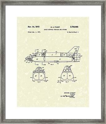 Space Shuttle 1972 Patent Art Framed Print