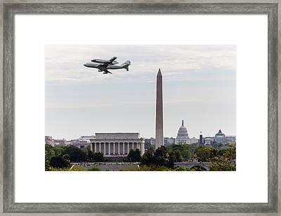 Space Shuttle Discovery Over Washington Dc Framed Print by Steven Heap