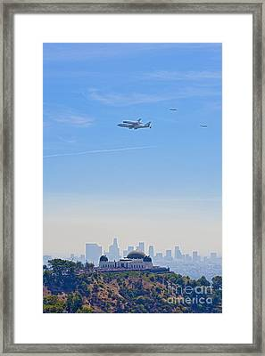 Space Shuttle Endeavour And Chase Planes Over The Griffith Observatory Framed Print