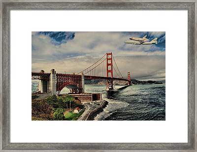 Space Shuttle Endeavour Over Golden Gate Bridge Framed Print by Movie Poster Prints