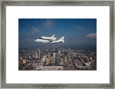 Space Shuttle Endeavour Over Houston Texas Framed Print