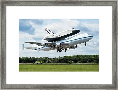 Space Shuttle Enterprise Piggyback Flight Framed Print by Nasa/smithsonian Institution/mark Avino