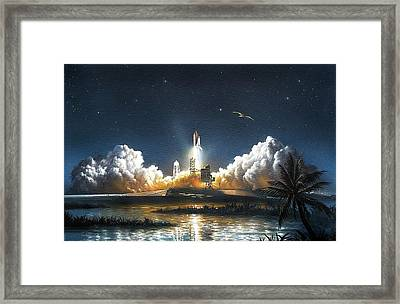 Space Shuttle Launch Framed Print by David A. Hardy