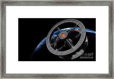 Space Station 5 In Earth Orbit Framed Print by Rhys Taylor