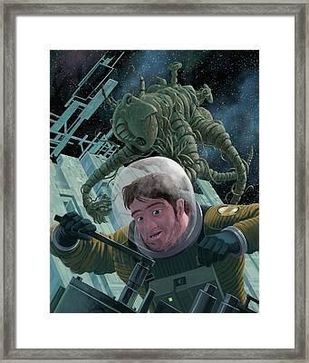 Space Station Monster Framed Print by Martin Davey