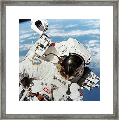 Space-walk Framed Print by Nasa/detlev Van Ravenswaay
