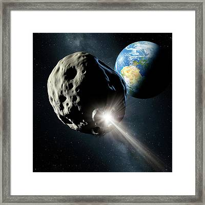 Spacecraft Colliding With Asteroid Framed Print by Detlev Van Ravenswaay