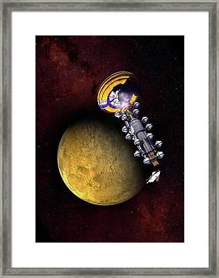 Spacecraft In Mars' Orbit Framed Print