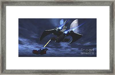 Spaceship Blasts A Laser Beam Toward An Framed Print by Corey Ford