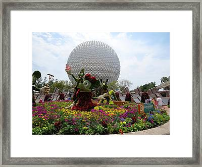 Spaceship Earth And Flower Garden Framed Print