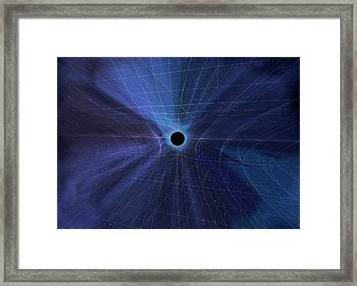 Spacetime Warped By A Black Hole Framed Print by Mark Garlick