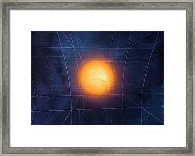 Spacetime Warped By Sun Framed Print by Mark Garlick