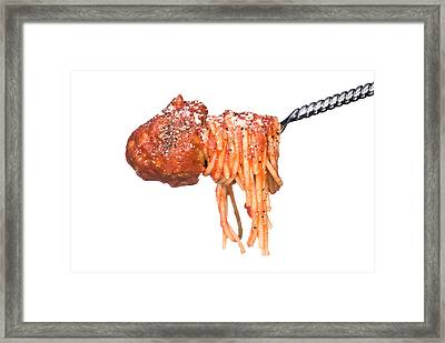 Spagetti And Meatballs On A White Background Framed Print
