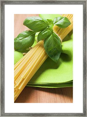 Spaghetti And Basil Framed Print