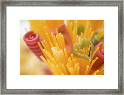 Spaghetti And Coloured Pasta (detail) Framed Print