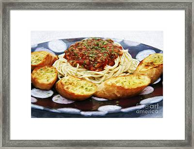 Spaghetti And Garlic Toast 1 Framed Print by Andee Design