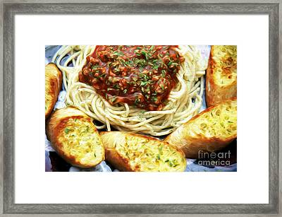 Spaghetti And Garlic Toast 4 Framed Print