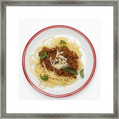 Spaghetti Bolognese From Above Framed Print by Paul Cowan