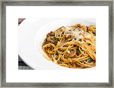 Spaghetti Noodles With Meat Sauce Framed Print