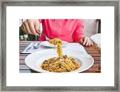 Spaghetti On The Fork Framed Print by Tosporn Preede