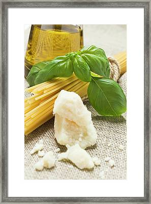 Spaghetti, Parmesan, Basil And Olive Oil Framed Print