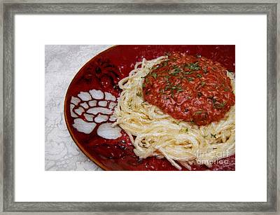 Spaghetti Red Framed Print by Andee Design