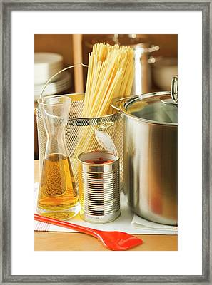 Spaghetti, Tin Of Tomatoes, Oil And Pan Framed Print