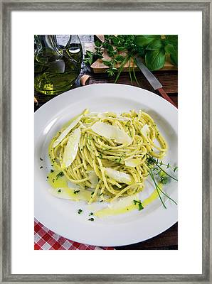 Spaghetti With Herbs - Rosemary, Thyme Framed Print by Nico Tondini