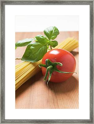 Spaghetti With Tomato And Basil Framed Print