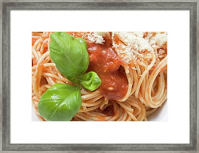 Spaghetti With Tomato Sauce, Basil And Parmesan (close-up) Framed Print