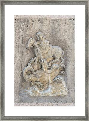 Spain, Barcelona, Relief Sculpture Of St Framed Print