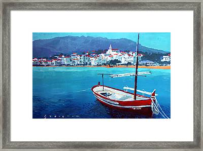 Spain Series 08 Cadaques Red Boat Framed Print by Yuriy Shevchuk