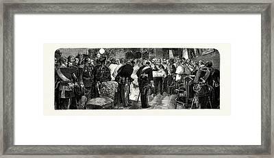 Spain The Royal Birth, King Alfonso Presenting The Infanta Framed Print