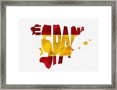 Spain Typographic Map Flag Framed Print by Ayse Deniz