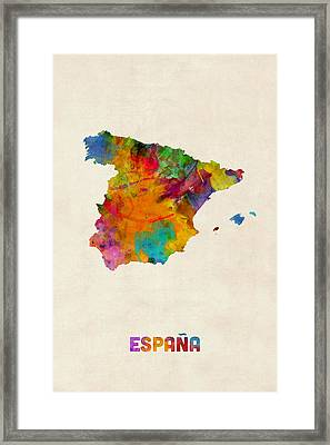 Spain Watercolor Map Framed Print by Michael Tompsett