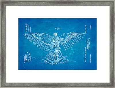 Spalding Flying Machine Patent Art  3 1889 Blueprint Framed Print by Ian Monk