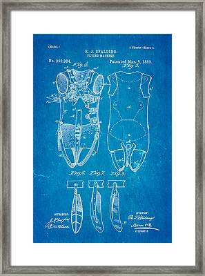 Spalding Flying Machine Patent Art  4 1889 Blueprint Framed Print by Ian Monk
