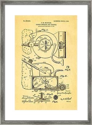 Spangler Carpet Cleaner Patent Art 1908 Framed Print by Ian Monk