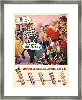 Spangles 1956 1950s Uk Sweets Party Framed Print